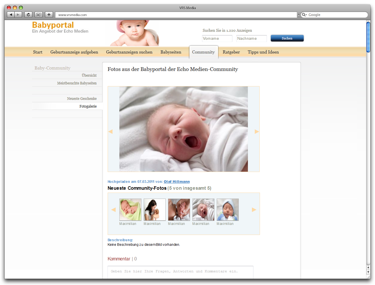 Screen VRS Media Babyportal Ansicht Community, vrs.FamilyMarkets