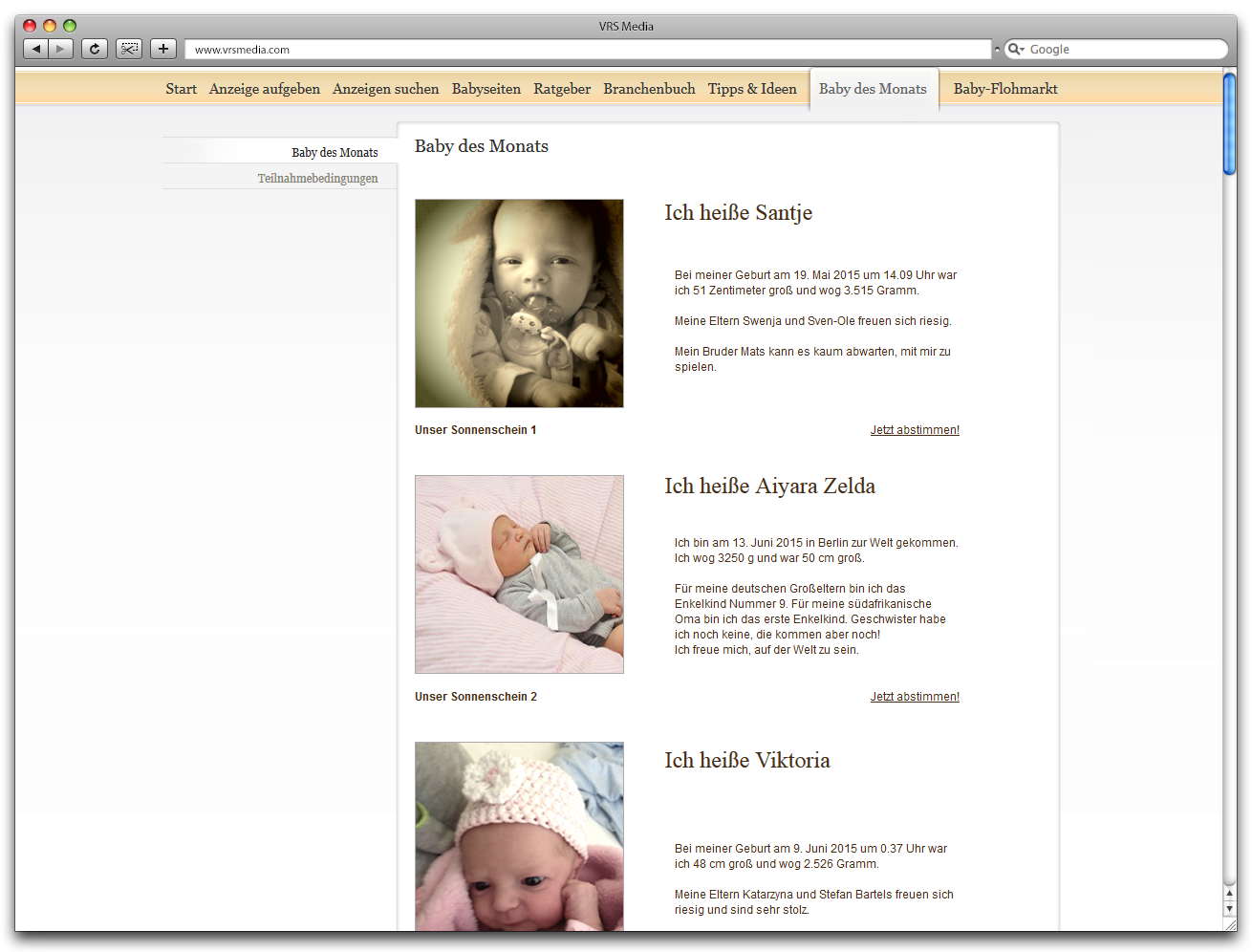 Screen VRS Media Babyportal Fotowettbewerb, vrs.FamilyMarkets