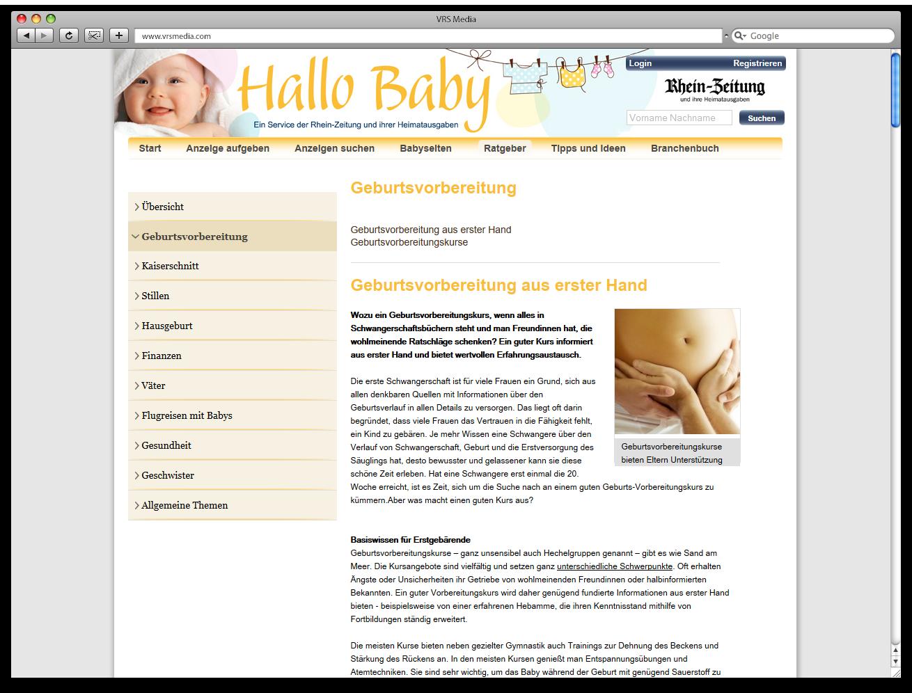 Screen VRSMedia Babyportal Ratgeberartikel, vrs.FamilyMarkets