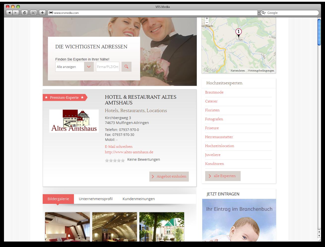 Screen VRS Media Hochzeitsportal Branchenbuch, vrs.FamilyMarkets