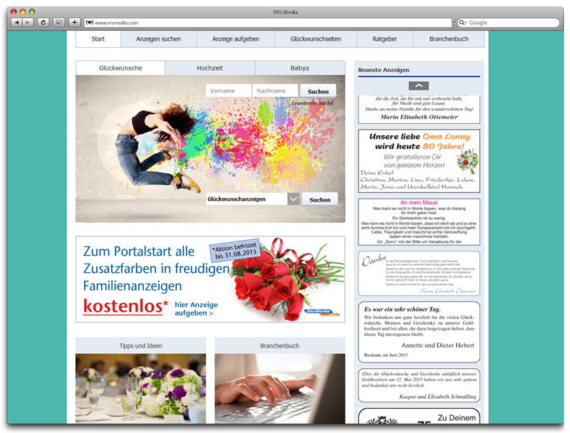 Screenshot VRS Media Familienanzeigenportal, vrs.FamilyMarkets