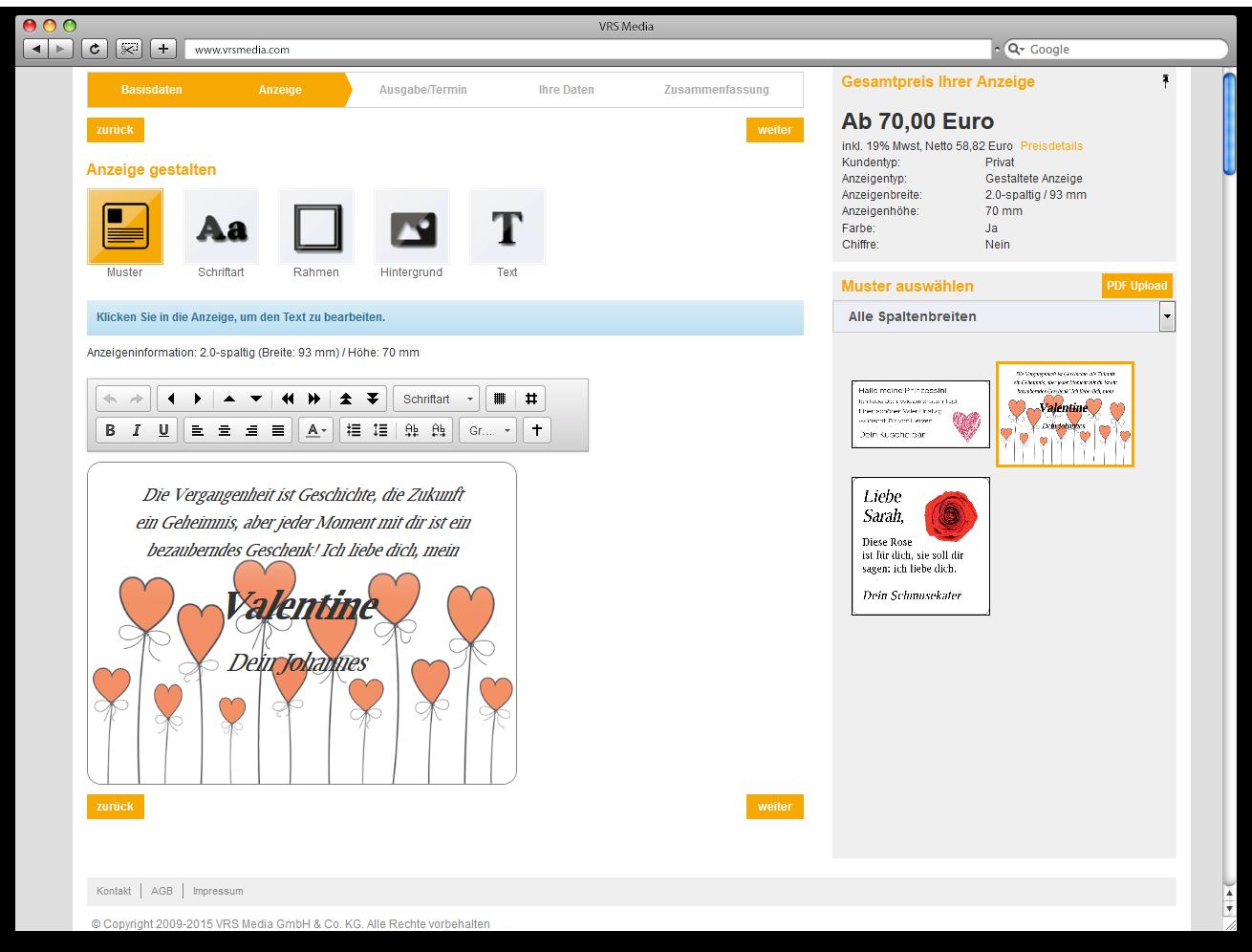 Screen VRS Media Glueckwunschportal, AdBooker Anzeigen-Aktionen