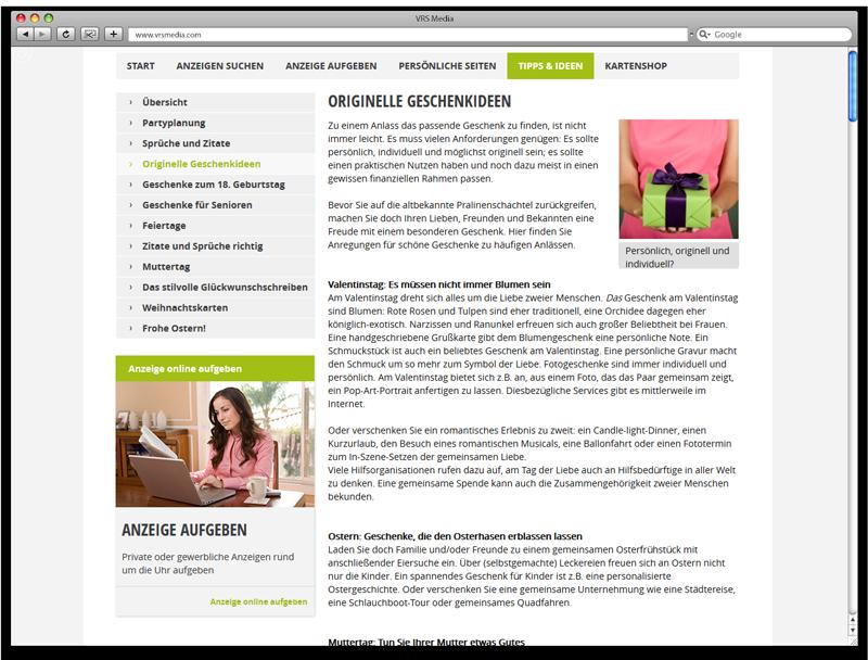 Screen VRS Media Glueckwunschportal, Ansicht Ratgeber, vrs.FamilyMarkets
