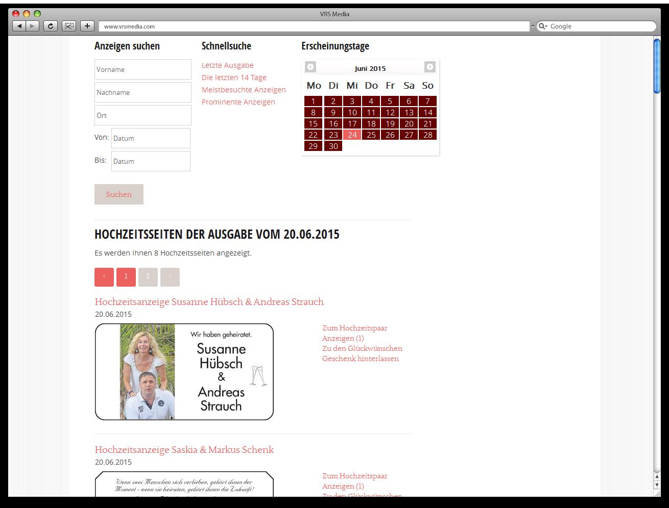 Screen VRS Media Hochzeitsportal, Hochzeitsanzeigen, vrs.FamilyMarkets