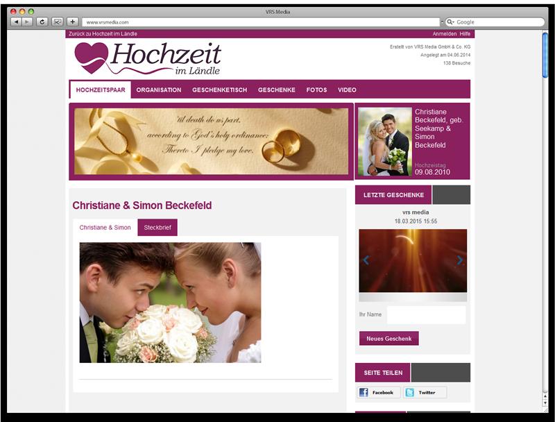 Screen VRS Media Hochzeitsportal Hochzeitsseiten, vrs.FamilyMarkets