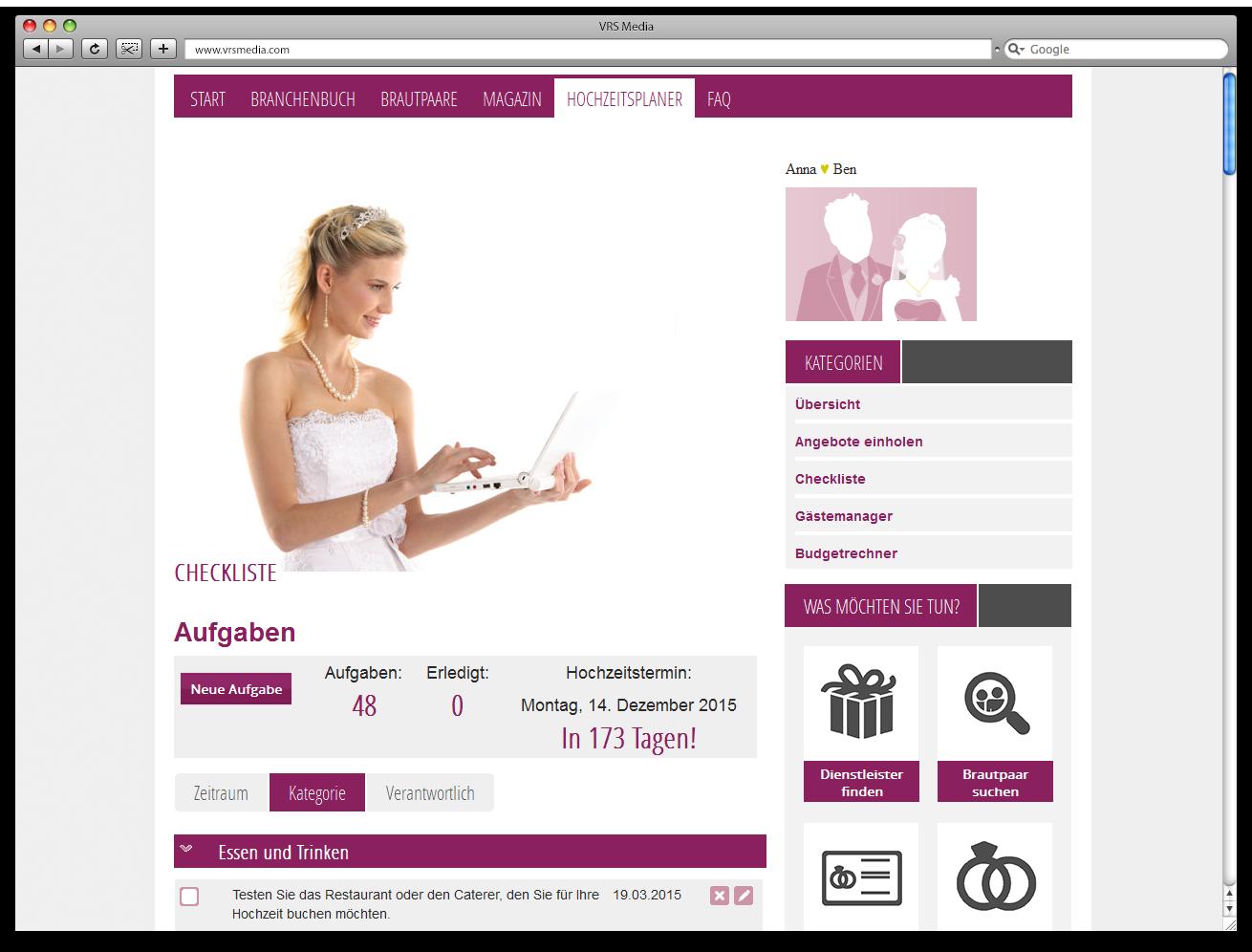 Screen VRS Media Hochzeitsportal Hochzeitsplaner, vrs.FamilyMarkets