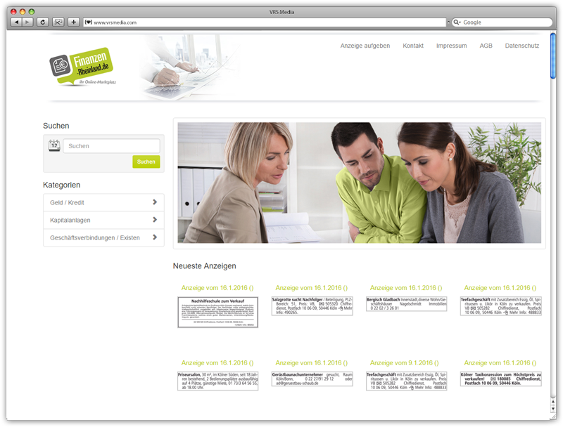 Screen VRS Media Rubrikenportal, vrs.AdMarket Basic - Finanzen