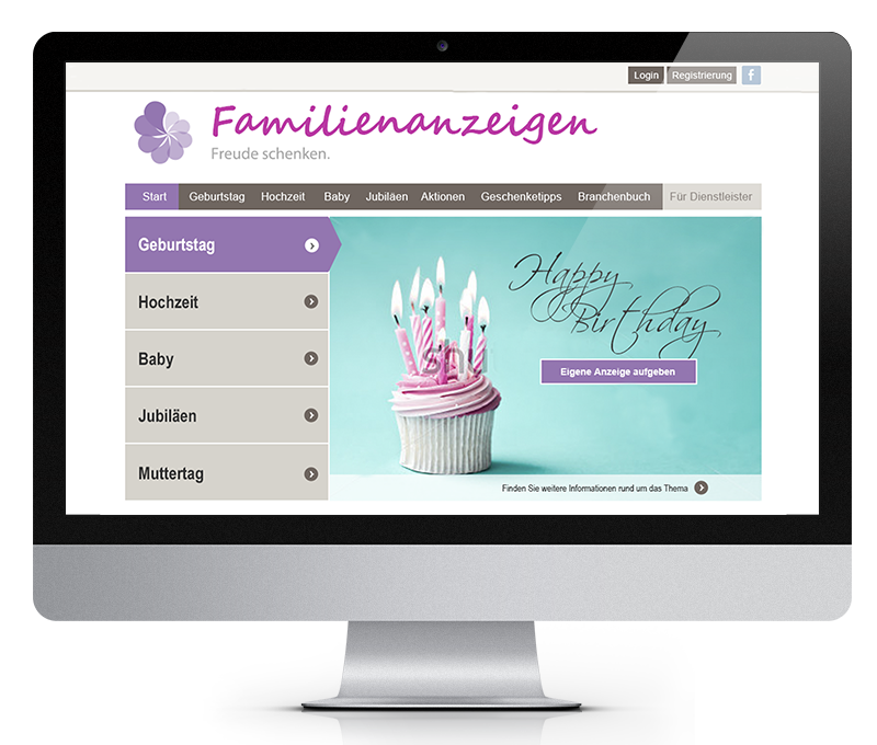 Screen iMac VRS Media Familienanzeigenportal, vrs.FamilyMarkets
