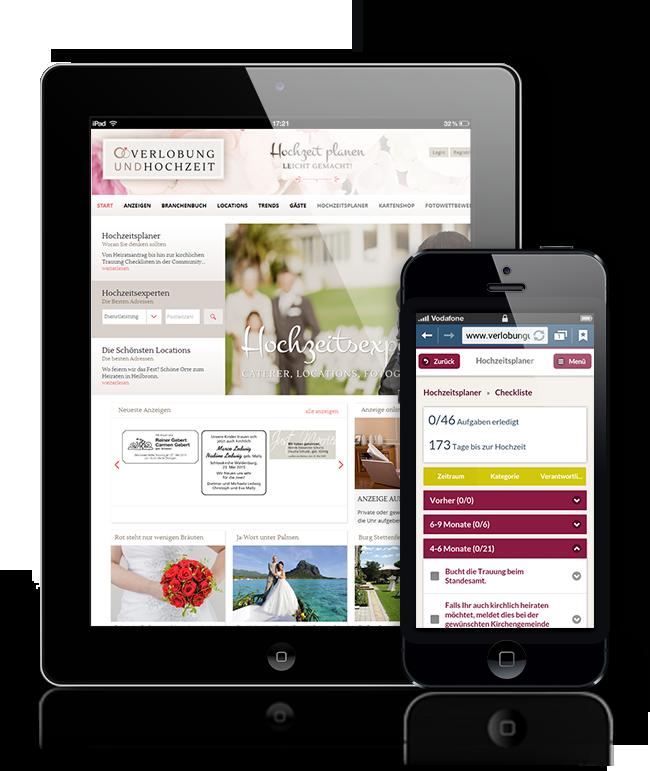 VRS Media Hochzeitsportal auf Smarthphone und Tablet, vrs.FamilyMarkets
