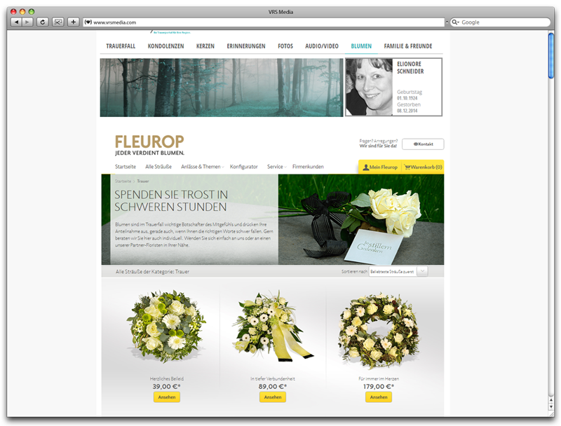 Screenshot Trauerportal Blumenshop auf Gedenkseite / Flower shop Memorial Page