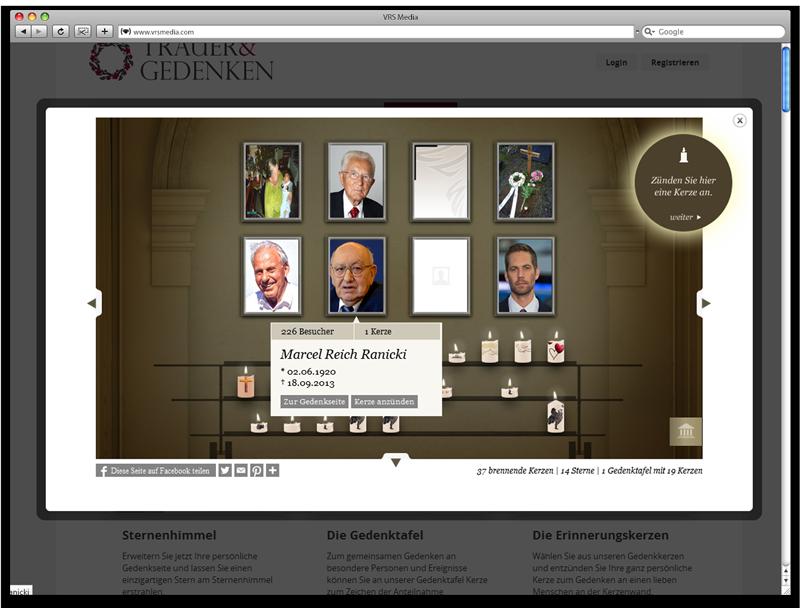 Screen VRSMedia Trauerportal Gedenkhalle, vrs.FamilyMarkets