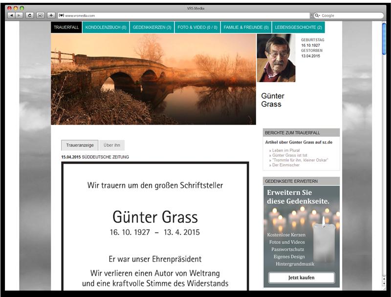 Screen VRSMedia Trauerportal Gedenkseite, vrs.FamilyMarkets