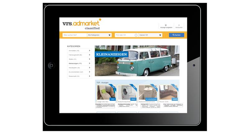 Ansicht VRS Media Kleinanzeigenportal auf iPad, vrs.AdMarkets Classified