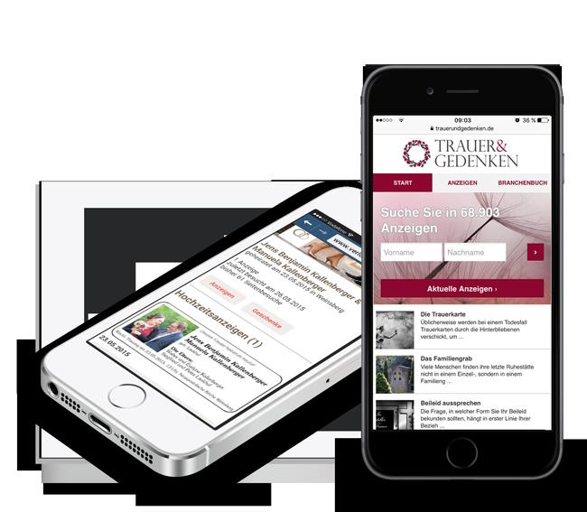 Mobile Version VRS Media Trauerportal und Hochzeitsportal
