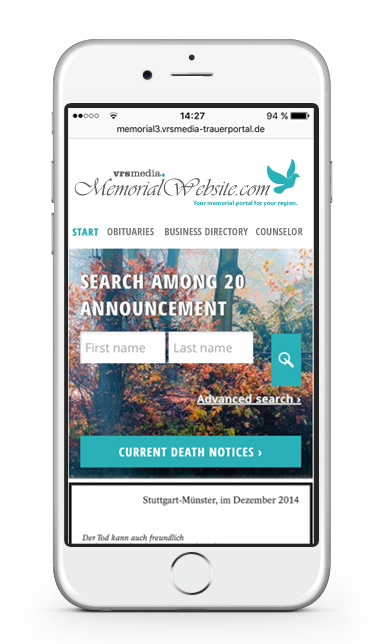 Mobile version of VRS Media MemorialWebsite Screenshot / Trauerportal Showcase