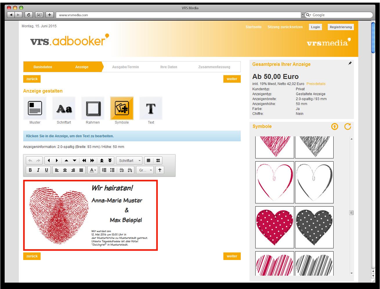 Screenshot vrs.AdBooker, VRS Media Anzeigenkonfigurator, VRSMedia ad configurator