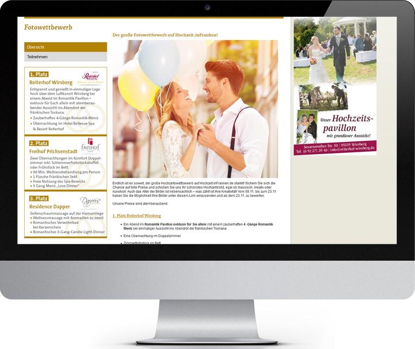 Screen iMac Newsbild Hochzeitsportal Hochzeit.InFranken.de mit erstem Fotowettbewerb im Netz