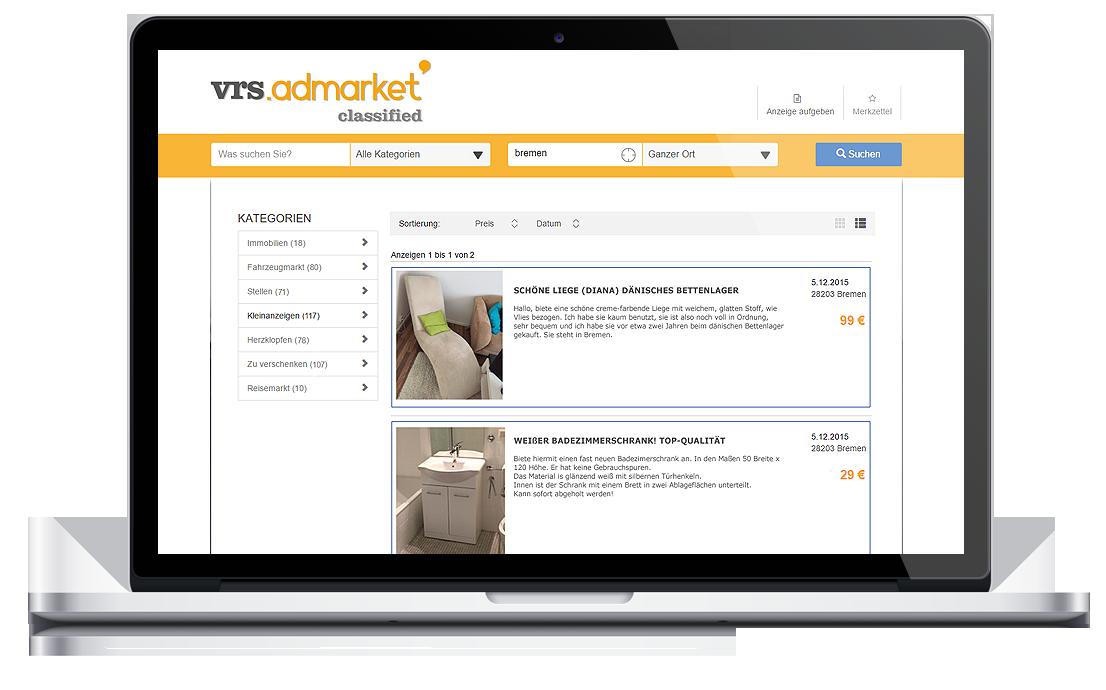 vrs.AdMarket Classified, VRS Media Kleinanzeigenportal - Umfangreiche Suchfunktionen