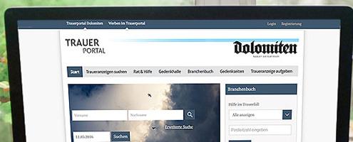 Newsbild VRS Media Trauerportal der Dolomiten